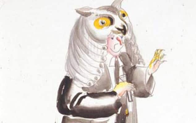 Costume design by Pegaret Anthony for male figure in owl costume. Production unknown