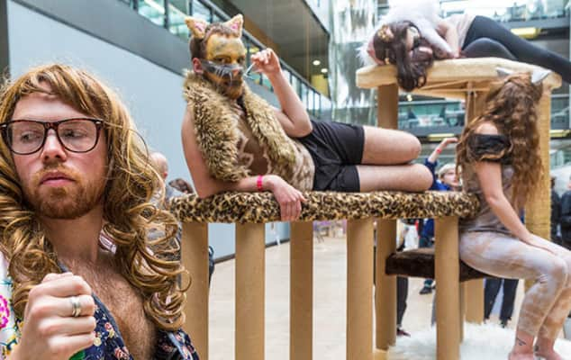 Photo of students dressed up as cats - they are lounging around and some of them are bearded