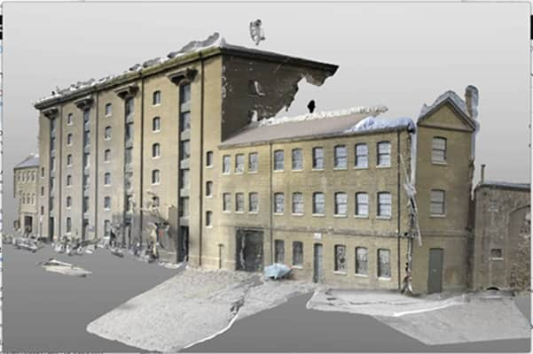 Digitally produced image which shows a decrepit version Central Saint Martins building