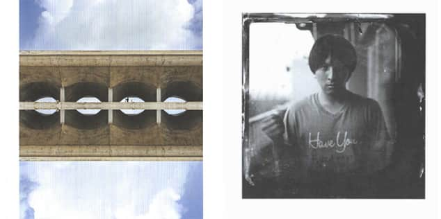 Exhibition catalogue, 2015 for Graduate Diploma Photography. Showing two pieces of photographic work: on the left a concrete bridge surrounded on the top and bottom by blue sky, on the right a black and white portrait of a man.