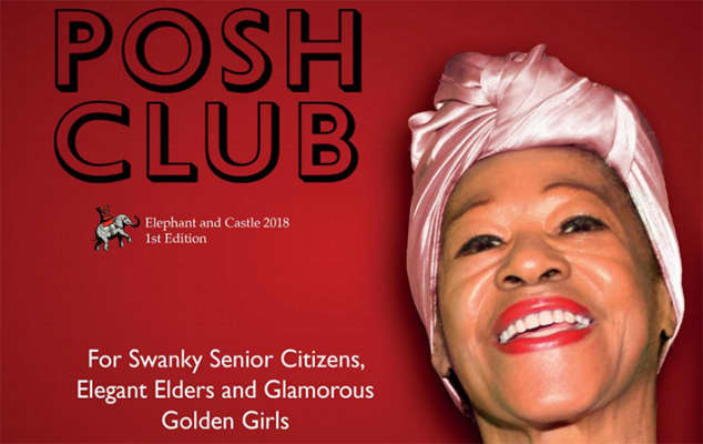 Front cover of The Posh Club magazine, made for Duckie. The image shows a woman wearing a pink head scarf and red lipstick smiling. She is against a red background.