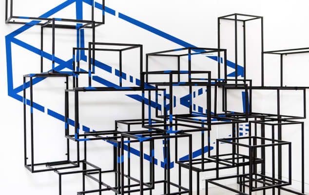 Architecture and spatial design training courses at London College of Communications - Black cubes stacked up