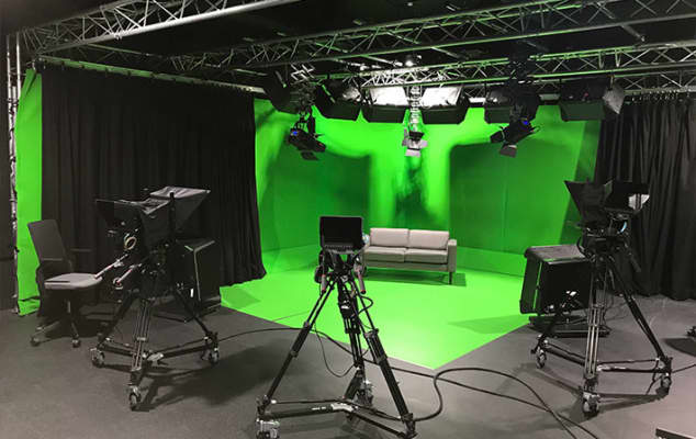LCC short courses and at Global Academy teaching DSLR filmmaking training course - image of a live tv broadcast studio