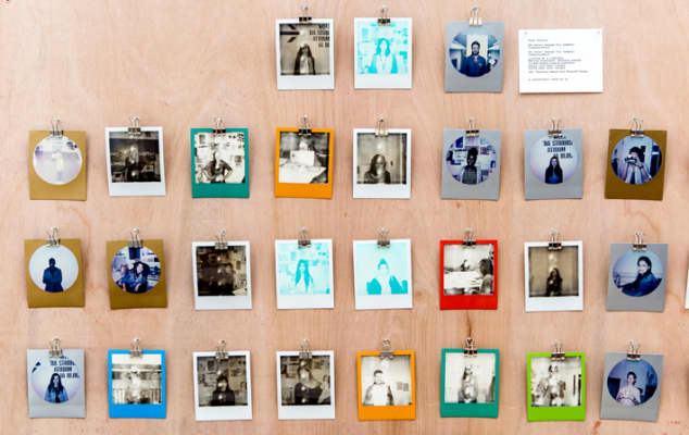 Service Design Training Workshops - Bespoke training courses for professional development in the creative industries at London College of Communication - Image of a wall with portrait photographs attached to it