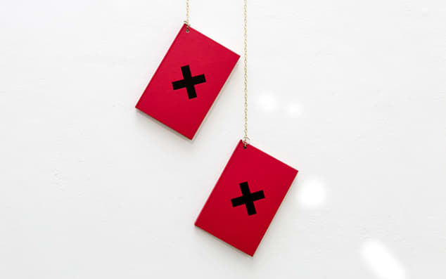 two red books hanging