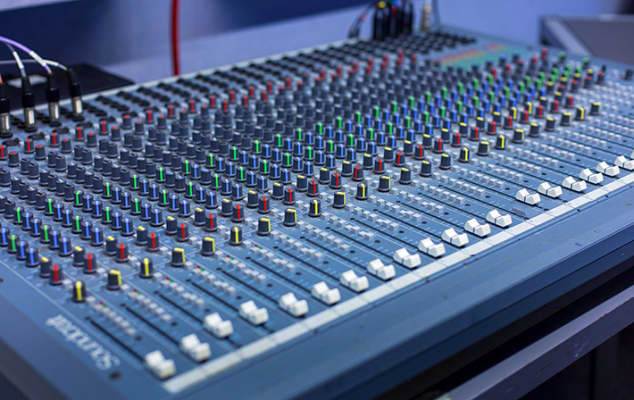 The mixing board in the Composition Studio.