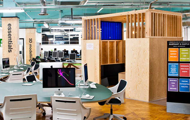 Photograph of computers and work-space within the Digital Space at London College of Communication.