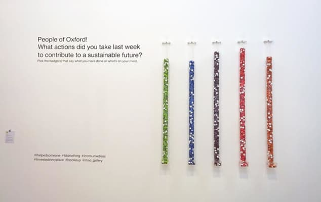 Physical Bar Charts installation by Lucy Kimbell, photo by Stu Allsopp