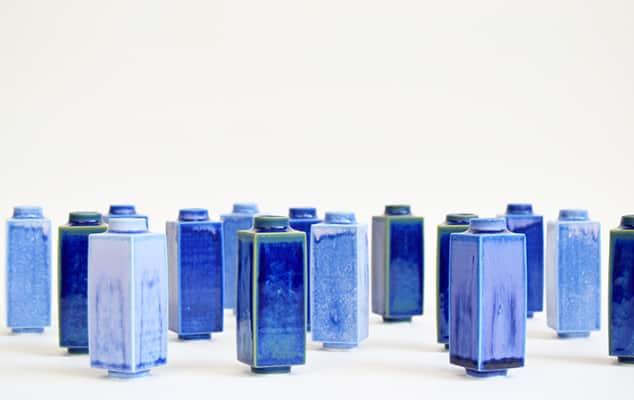 Blue slip-cast pots