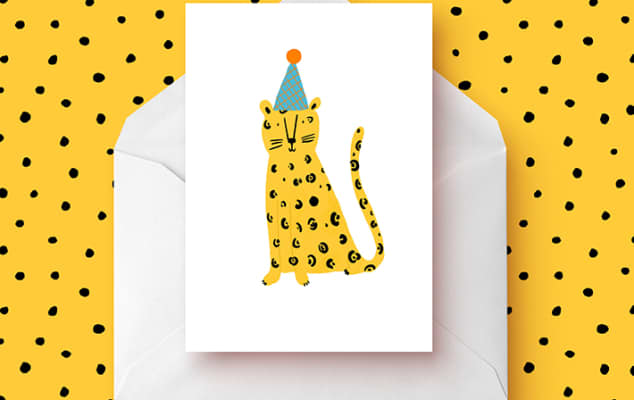 Leopard greetings card designed by Abigail Burch