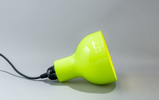 Image of a bright green table lamp