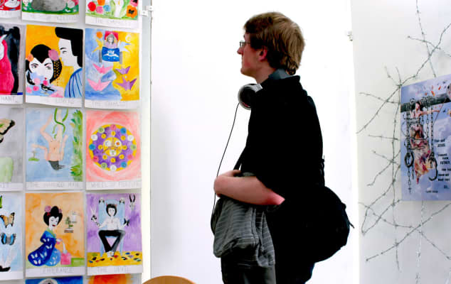 LCC: Foundation Studies in Art & Design students putting up end of year show.