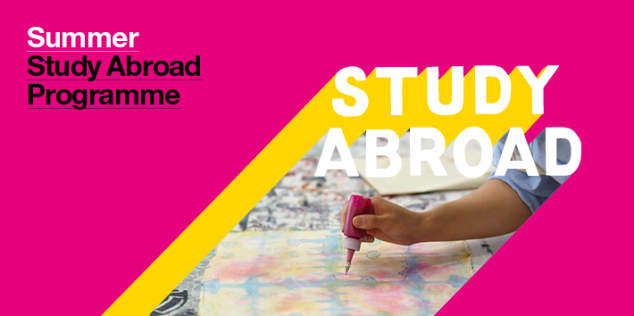Summer study abroad banner featuring a person sketching