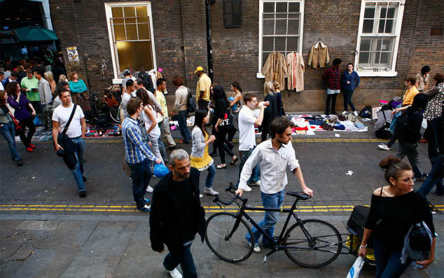 People in east London's Brick Lane