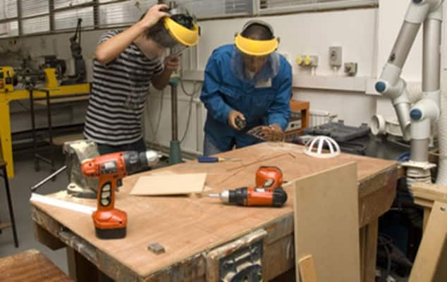 Students working in workshop
