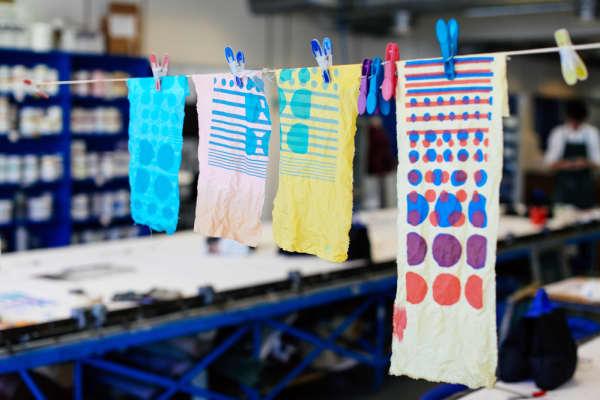 Hanging printed fabrics
