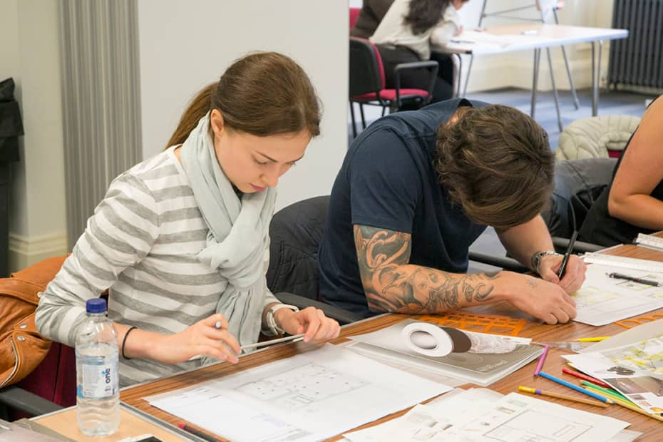 Short Course Students Working On Plans During Starting An Interior Design Business Photograph Jasmin