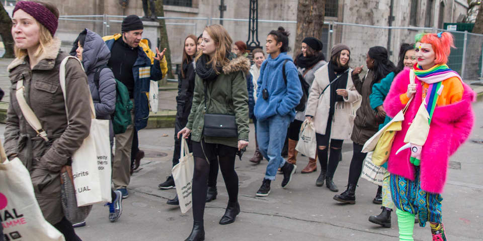 Students on a field trip during London Design Programme.