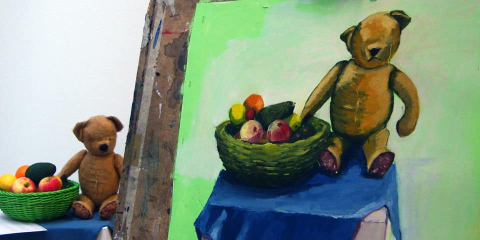 Still life set up and a painting created by a student on Oil Painting Level One