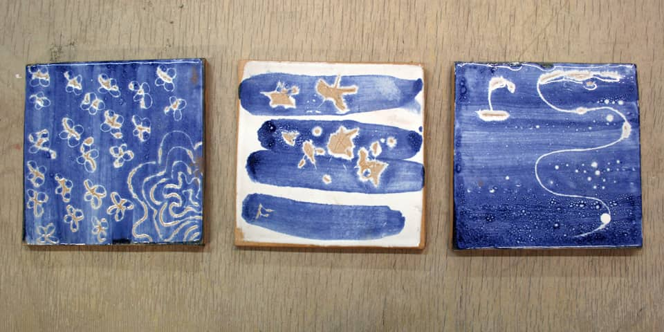 Glazed tiles created during Ceramic Decoration and Glazing in a Day