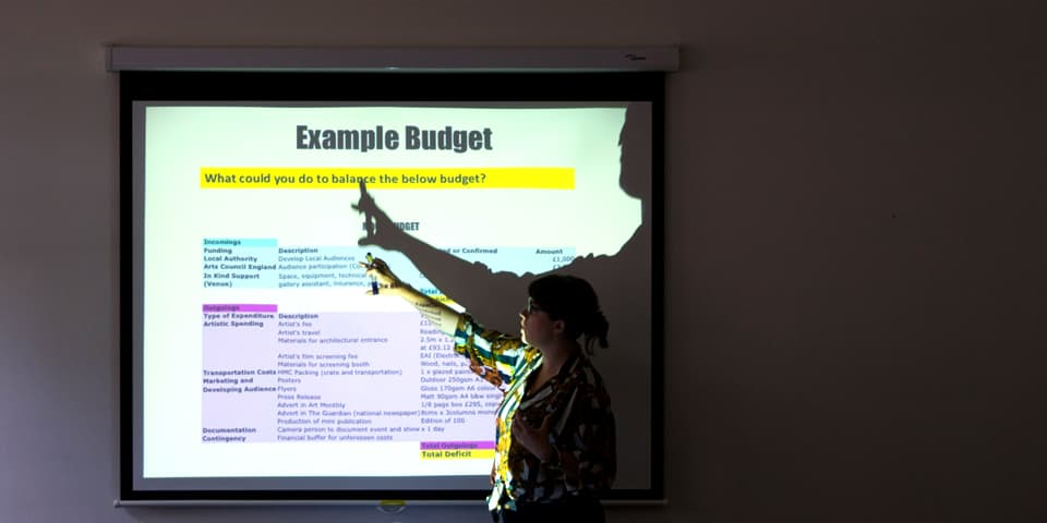 Presentation about budgeting for your exhibition during curating course