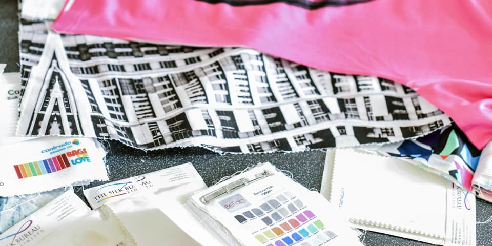 Samples arranged on the table during Summer Study Abroad - Digital Textile Design.