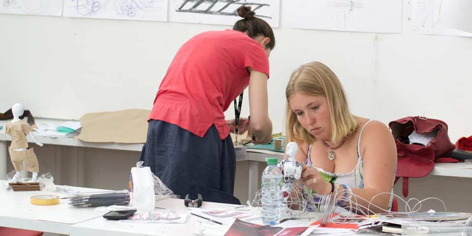 Students in the studio during Summer Study Abroad