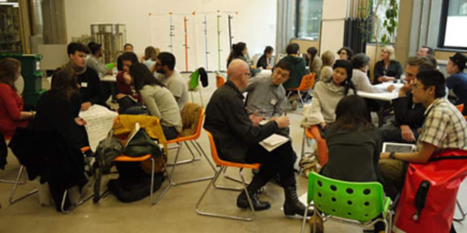 People in groups talking, CSM, 2013.