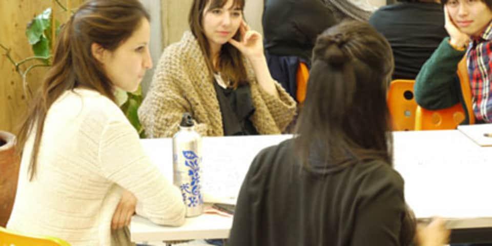 Four people talking, CSM, 2013.