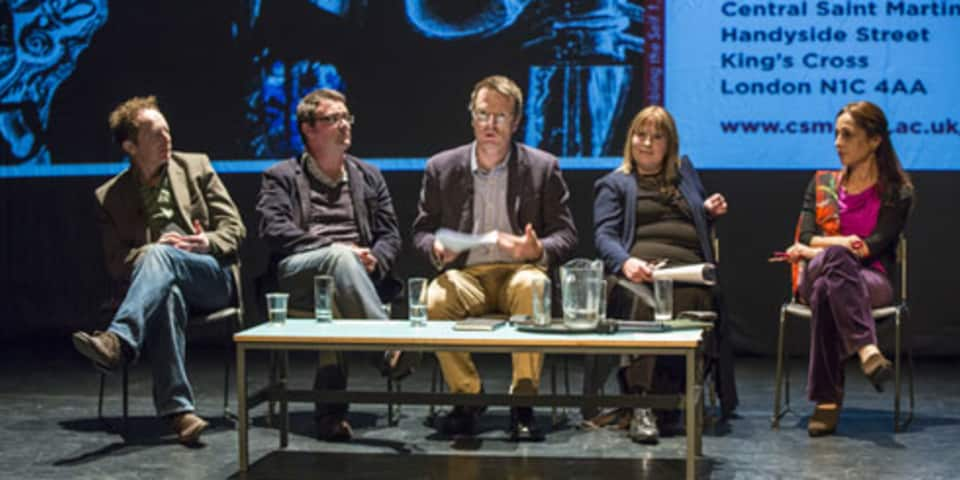 The 'No Art (School) Without Science' panel talking, CSM, 2013.