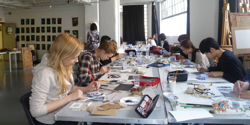 Orientation to Art and Design Students working in the studio
