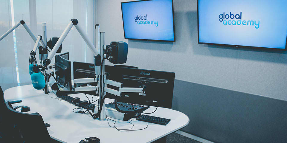 LCC Short Courses delivered with Global Academy - image of a radio recording studio