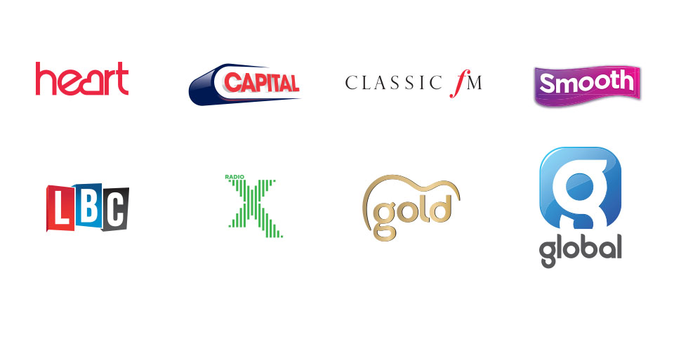 Global Academy and London College of Communication partnership for short courses and training courses - image of logos for Heart FM, Capital FM, Classic FM and others
