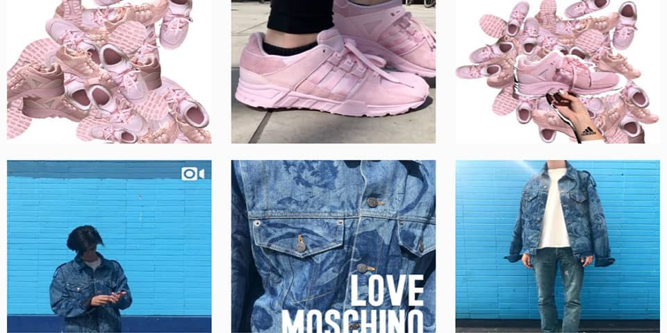 Pictures that students have taken. 4 different pictures of clothes. Pink trainers and blue jean jacket.