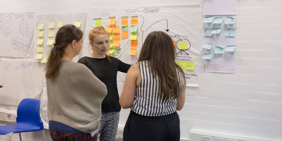 Service Design and Innovation Intensive Short Courses at London College of Communication - Image of Three students discussing how to deliver the presentation in the classroom.