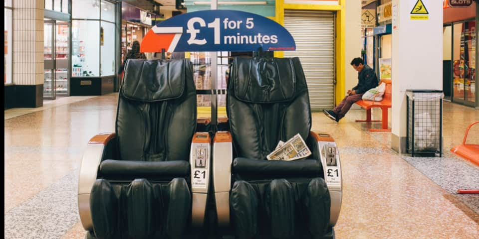 Magnum Documentary Short Courses at London College of Communication - Image of two massage chairs in shopping centre