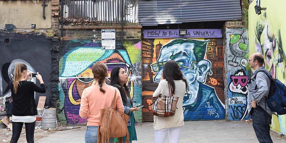 Students on a site visit in East London.