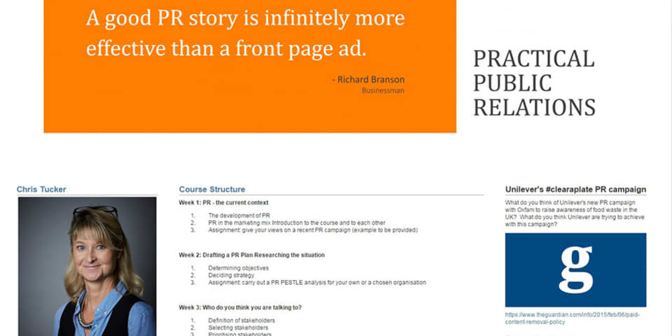 Practical Public Relations Online Short Courses at London College of Communication - Image of students work