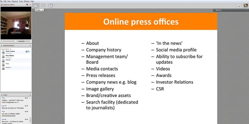 Screen shot of online classroom