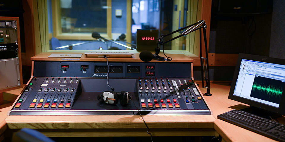 Radio Journalism Short Course at London College of Communication - Image of the studio and desk