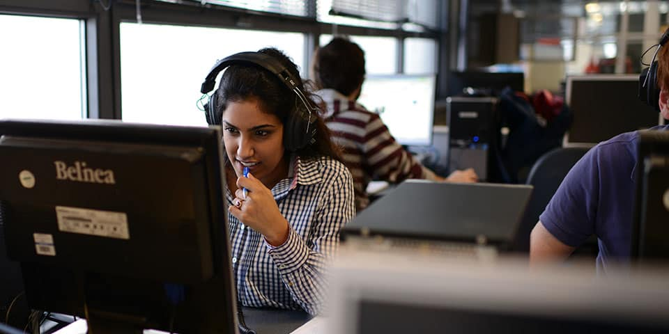 Radio Journalism Short Course at London College of Communication - Image of a student editing sound