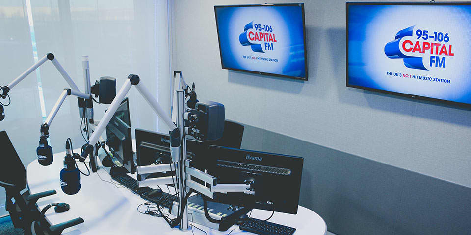 Radio Journalism Short Course taught at LCC and Global Academy - image of a live radio broadcast studio