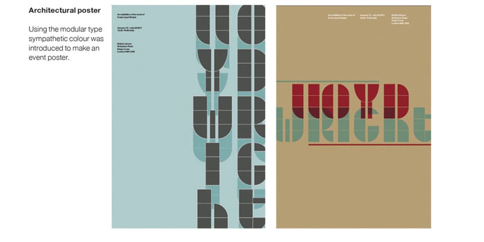 Student work: Poster designs exploring typography and colour.