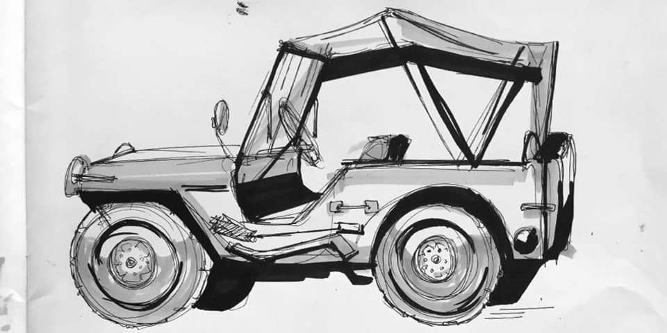 a jeep or truck drawn in marker pen