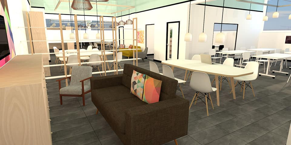 Vectorworks Short Course at London College of Communication - Image of Vectorworks image of room interior with sofa