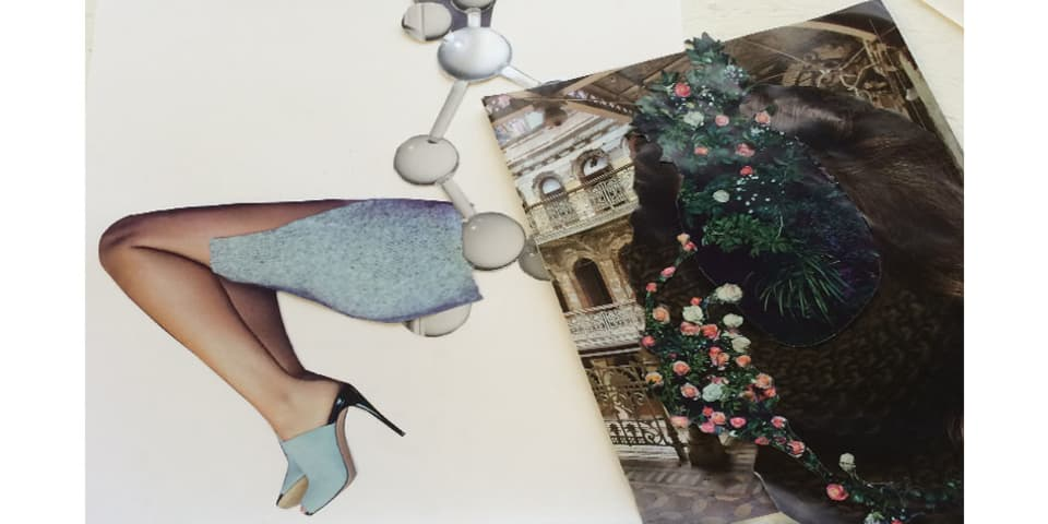 Image of student work showing a collage of leg and textures.