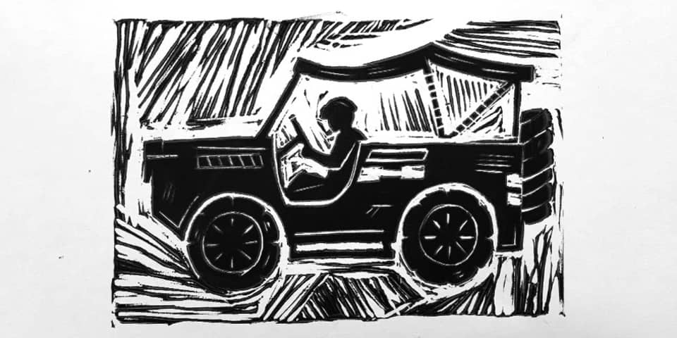 a lino cut print of a jeep style truck.