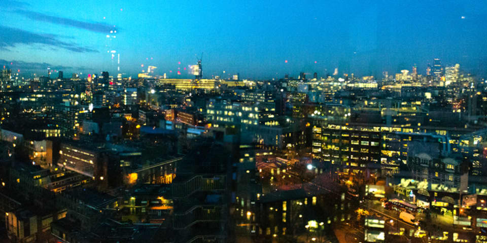 View of London and Elephant & Castle from the Tower Block at London College of Communication.