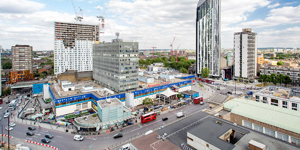 Image of Elephant & Castle buildings, roads and roundabout from the Tower Block at London College of Communication