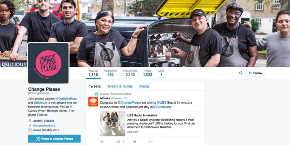 Screenshot of Change Please's Twitter profile.